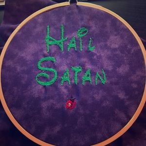 Hail Satan Disney-does embroidery art